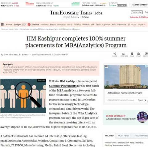 IIM Kashipur completes 100% summer placements for MBA(Analytics) Program